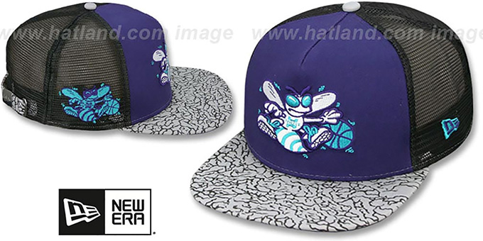 Hornets 'ELEPHANT-HOOK STRAPBACK' Hat by New Era : pictured without stickers that these products are shipped with