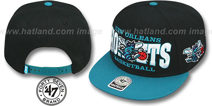 4bbe1b0d3d472 Hornets  FIRST CLASS SNAPBACK  Black-Teal Hat by Twins 47 Brand