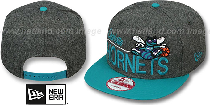 Hornets 'FLANNEL SNAPBACK' Grey-Teal Hat by New Era : pictured without stickers that these products are shipped with