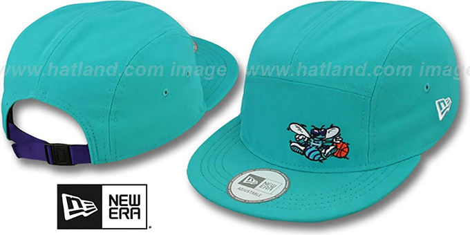 Hornets 'FLAWLESS CAMPER STRAPBACK' Teal Hat by New Era : pictured without stickers that these products are shipped with