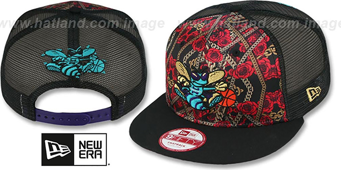 Hornets 'FLORAL CHAIN SNAPBACK' Hat by New Era : pictured without stickers that these products are shipped with