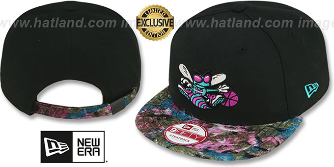 Hornets 'FLORAL-FUR STRAPBACK' Black-Purple Hat by New Era : pictured without stickers that these products are shipped with