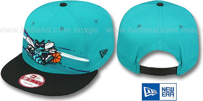 Hornets 'FRANTAB SNAPBACK' Teal-Black Adjustable Hat by New Era : pictured without stickers that these products are shipped with