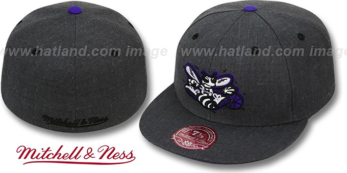Hornets 'GREY HEDGEHOG' Fitted Hat by Mitchell & Ness : pictured without stickers that these products are shipped with