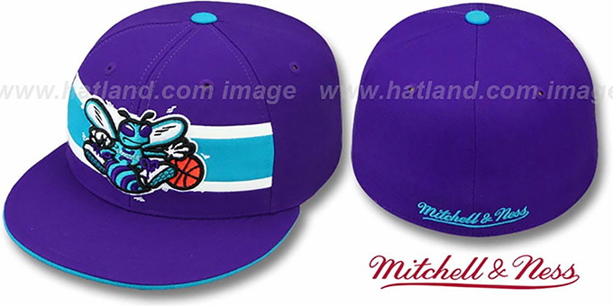 Hornets 'HARDWOOD TIMEOUT' Purple Fitted Hat by Mitchell & Ness : pictured without stickers that these products are shipped with