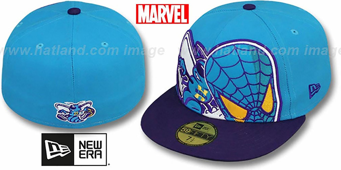 Hornets 'HERO-HCL' Teal-Purple Fitted Hat by New Era : pictured without stickers that these products are shipped with