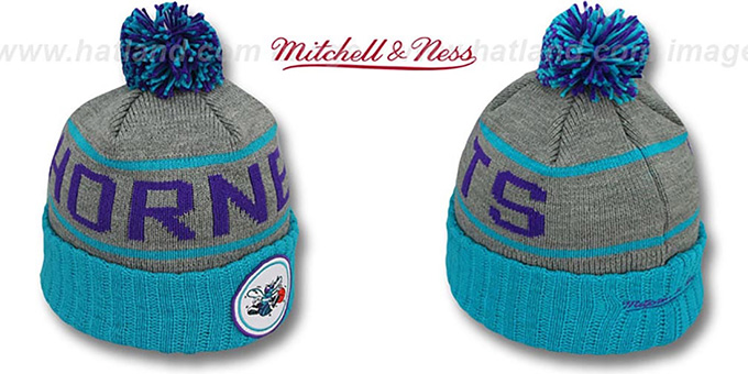 Hornets 'HIGH-5 CIRCLE BEANIE' Grey-Teal by Mitchell and Ness : pictured without stickers that these products are shipped with