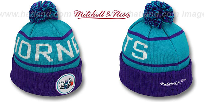 Hornets 'HIGH-5 CIRCLE BEANIE' Teal-Purple by Mitchell and Ness : pictured without stickers that these products are shipped with