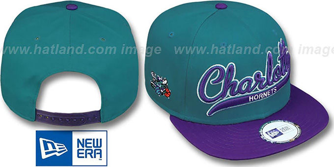 Hornets HW '2T SCRIPTER SNAPBACK' Teal-Purple Hat by New Era : pictured without stickers that these products are shipped with