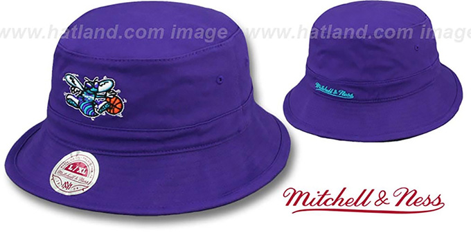 Hornets HW 'BASIC BUCKET' Purple Hat by Mitchell and Ness : pictured without stickers that these products are shipped with
