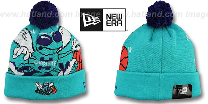 Hornets 'HWC-BIGGIE' Teal Knit Beanie Hat by New Era : pictured without stickers that these products are shipped with