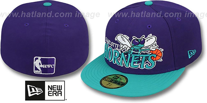 Hornets 'HWC-TIGHT' Purple-Teal Fitted Hat by New Era