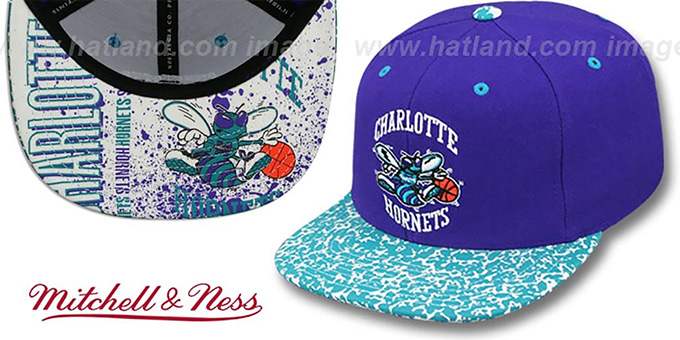 Hornets 'IN-THE-STANDS SNAPBACK' Hat by Mitchell & Ness : pictured without stickers that these products are shipped with