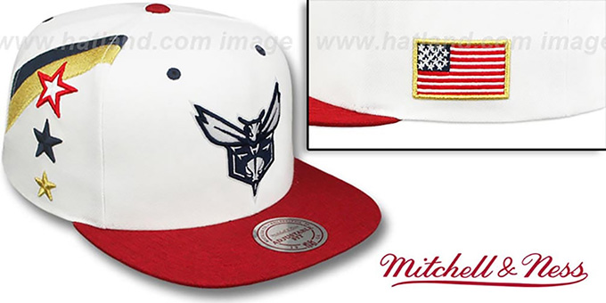Hornets 'INDEPENDENCE SNAPBACK' Hat by Mitchell and Ness : pictured without stickers that these products are shipped with