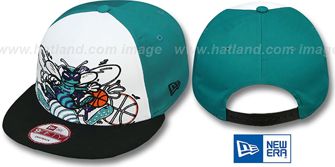 Hornets 'LITTLE-BIG POP SNAPBACK' White-Teal-Black Hat by New Era : pictured without stickers that these products are shipped with