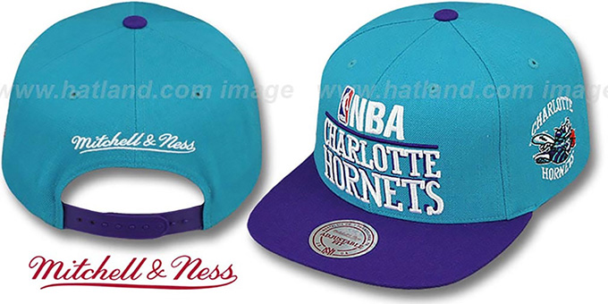 Hornets 'MEDIA-DAY SNAPBACK' Teal-Purple Hat by Mitchell & Ness : pictured without stickers that these products are shipped with