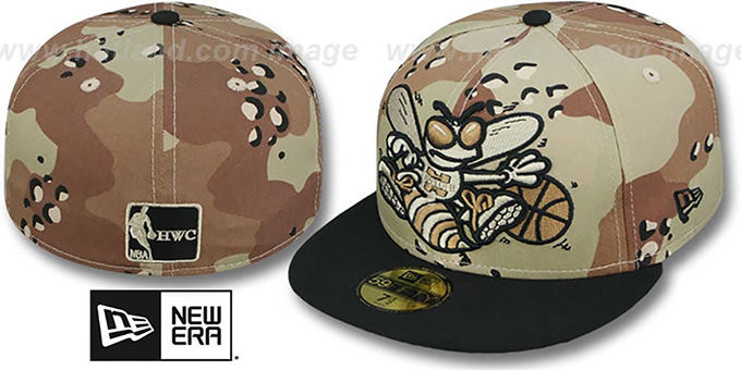 Hornets 'MIGHTY-XL' Desert Storm Camo Fitted Hat by New Era : pictured without stickers that these products are shipped with