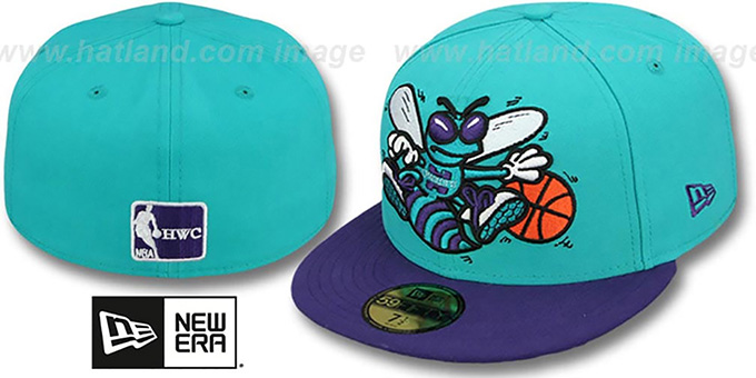 Hornets 'MIGHTY-XL' Teal-Purple Fitted Hat by New Era : pictured without stickers that these products are shipped with