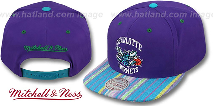 Hornets 'NATIVE-STRIPE SNAPBACK' Purple Hat by Mitchell and Ness : pictured without stickers that these products are shipped with