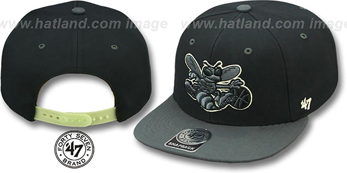 Hornets 'NIGHT-MOVE SNAPBACK' Adjustable Hat by Twins 47 Brand : pictured without stickers that these products are shipped with