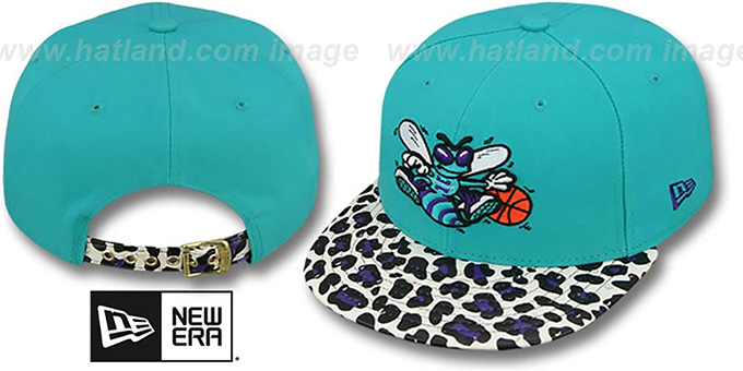 Hornets 'OSTRICH-LEOPARD STRAPBACK' Hat by New Era : pictured without stickers that these products are shipped with