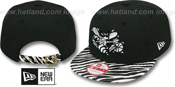 Hornets 'OSTRICH-ZEBRA STRAPBACK' Hat by New Era : pictured without stickers that these products are shipped with