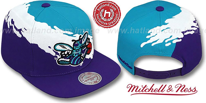 Hornets  PAINTBRUSH SNAPBACK  Teal-White-Purple Hat by Mitchell ... 3957737eb94