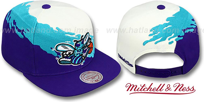 Hornets 'PAINTBRUSH SNAPBACK' White-Teal-Purple Hat by Mitchell & Ness : pictured without stickers that these products are shipped with