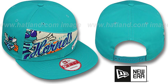 Hornets 'PENNANT SNAPBACK' Teal Hat by New Era : pictured without stickers that these products are shipped with