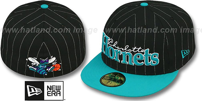 Hornets 'PIN-SCRIPT' Black-Teal Fitted Hat by New Era : pictured without stickers that these products are shipped with