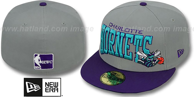 Hornets 'PRO-ARCH' Grey-Purple Fitted Hat by New Era : pictured without stickers that these products are shipped with