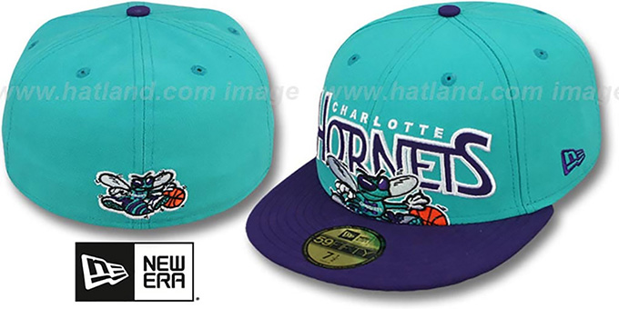 Hornets 'PROFILIN' Teal-Purple Fitted Hat by New Era : pictured without stickers that these products are shipped with