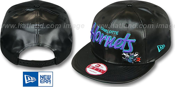 Hornets 'REDUX SNAPBACK' Black Hat by New Era : pictured without stickers that these products are shipped with