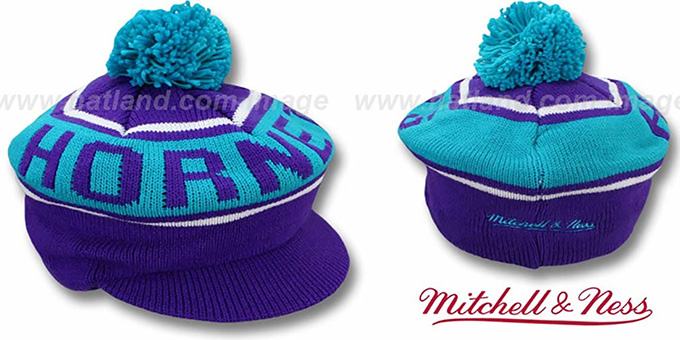 Hornets 'RERUN KNIT BEANIE' by Mitchell and Ness : pictured without stickers that these products are shipped with