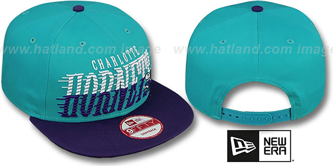 Hornets 'SAILTIP SNAPBACK' Teal-Purple Hat by New Era : pictured without stickers that these products are shipped with