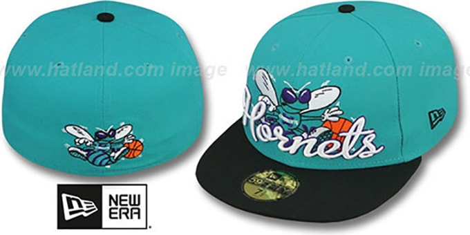 Hornets 'SCRIPT-PUNCH' Teal-Black Fitted Hat by New Era : pictured without stickers that these products are shipped with