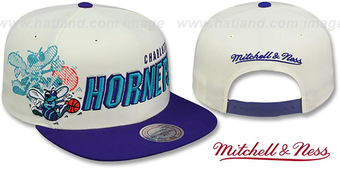 Hornets 'SHADOW DRAFT SNAPBACK' Hat by Mitchell and Ness : pictured without stickers that these products are shipped with