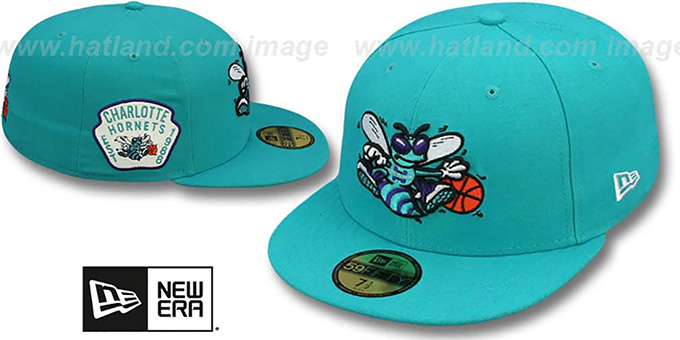 Hornets 'SIDE TEAM-PATCH' Teal Fitted Hat by New Era : pictured without stickers that these products are shipped with
