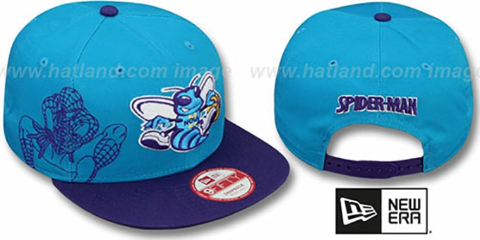 Hornets 'SIDE-TEAM' SPIDERMAN SNAPBACK Hat by New Era : pictured without stickers that these products are shipped with