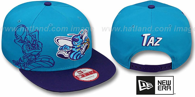 Hornets 'SIDE-TEAM' TAZMANIAN DEVIL SNAPBACK Hat by New Era : pictured without stickers that these products are shipped with