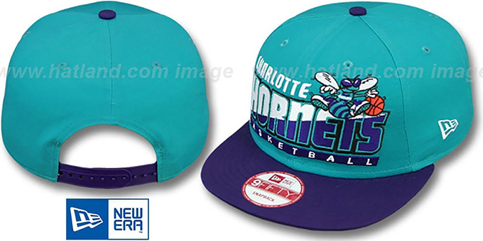 Hornets 'SLICE-N-DICE SNAPBACK' Teal-Purple Hat by New Era : pictured without stickers that these products are shipped with