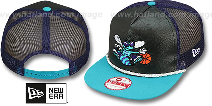 Hornets 'SNAKE A-FRAME SNAPBACK' Black-Teal Hat by New Era : pictured without stickers that these products are shipped with