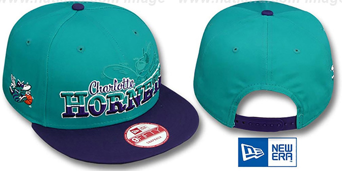 Hornets 'SPLIT-BLOCK SNAPBACK' Teal-Purple Hat by New Era : pictured without stickers that these products are shipped with
