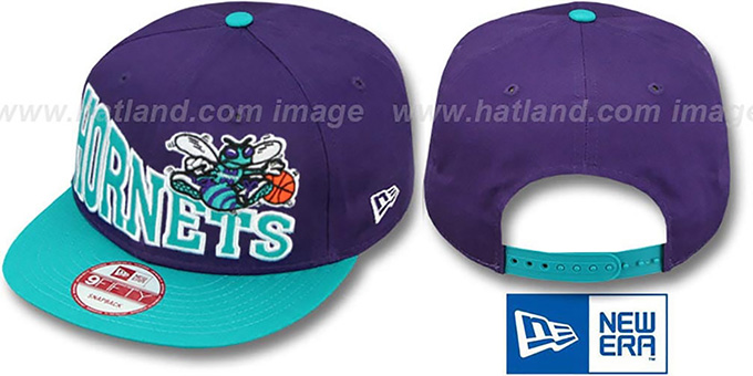 Hornets 'STOKED SNAPBACK' Purple-Teal Hat by New Era : pictured without stickers that these products are shipped with