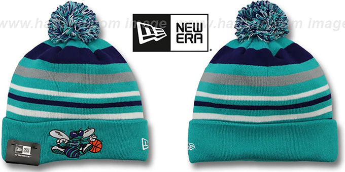 Hornets 'STRIPEOUT' Knit Beanie Hat by New Era : pictured without stickers that these products are shipped with