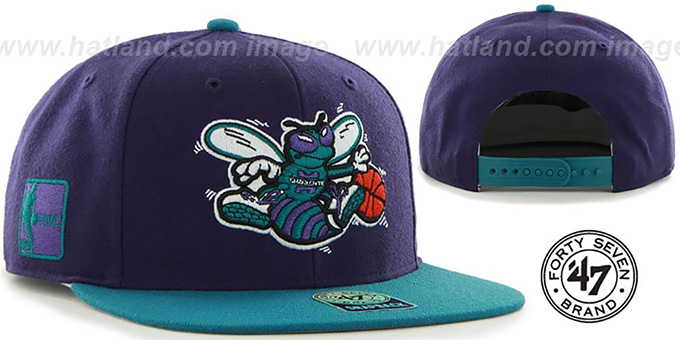 Hornets 'SURE-SHOT SNAPBACK' Purple-Teal Hat by Twins 47 Brand : pictured without stickers that these products are shipped with