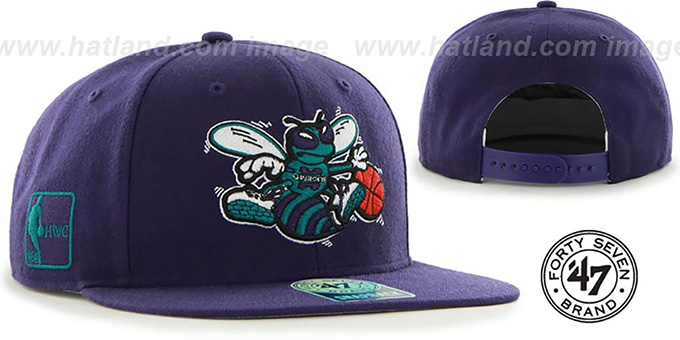 Hornets 'SURE-SHOT SNAPBACK' Purple Hat by Twins 47 Brand : pictured without stickers that these products are shipped with