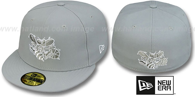 Hornets 'TEAM-BASIC' Grey-White Fitted Hat by New Era : pictured without stickers that these products are shipped with