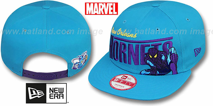 Hornets 'TEAM-HERO SNAPBACK' Teal Hat by New Era : pictured without stickers that these products are shipped with