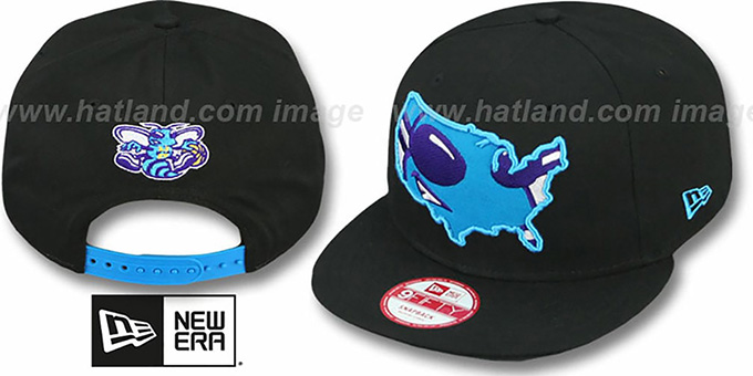 Hornets 'TEAM-INSIDER SNAPBACK' Black Hat by New Era : pictured without stickers that these products are shipped with